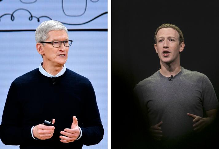 Tim Cook, forstjóri Apple, og Mark Zuckerberg, forstjóri Facebook.