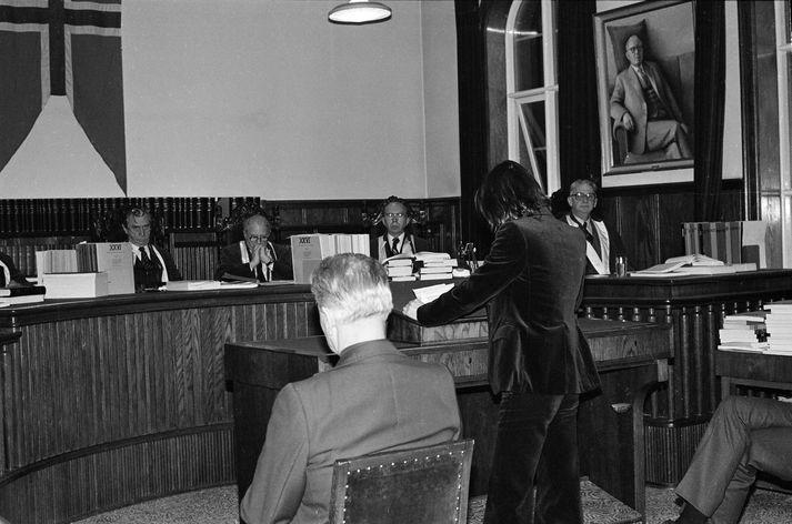 Sævar Ciesielski heldur ræðu fyrir Hæstarétti árið 1980.