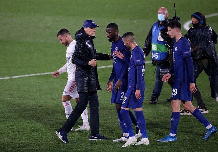 Eftir fyrri leik Chelsea og Real Madrid.
