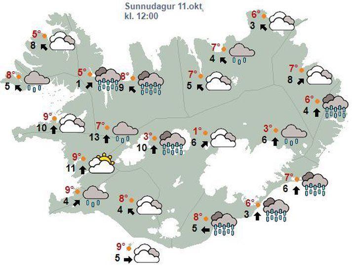 Veðurhorfur á landinu um hádegisbil í dag.