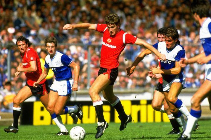 Norman Whiteside í leik með Manchester United á Wembley.