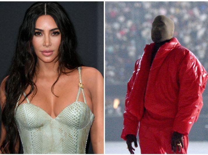 Kim Kardashian mætti óvænt í hlustunarpartý fyrrverandi mannsins síns, Kanye West. Hér má sjá hann stíga á svið í partýinu.