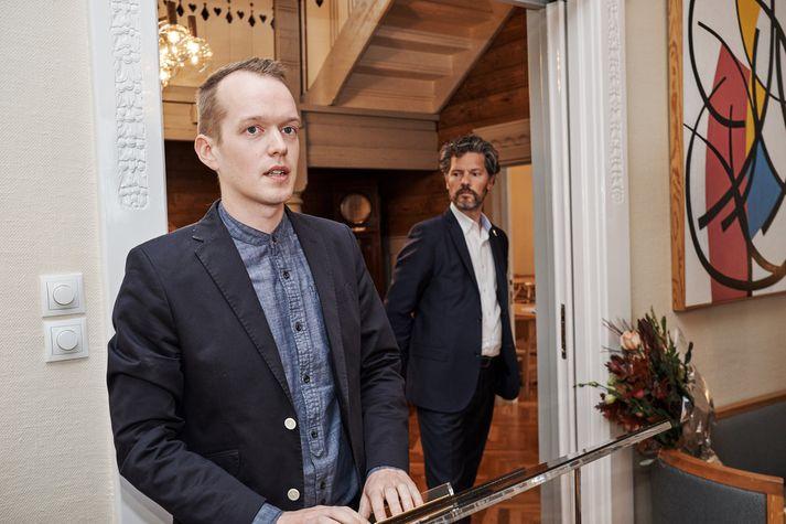 Jónas Reynir sté í pontu í Höfða í gær og ávarpaði gesti.