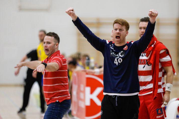 Davíð Svansson var hetja HK í nýliðaslagnum.