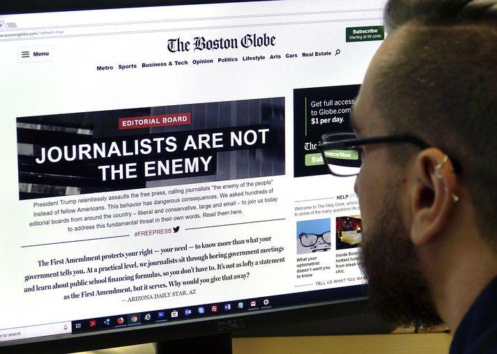 Boston Globe hafði frumkvæði að því að bandarískir fjölmiðlar birtu leiðara til að mótmæla árásum Trump forseta.