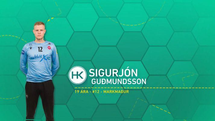 Sigurjón Guðmundsson átti frábæran leik í marki HK.