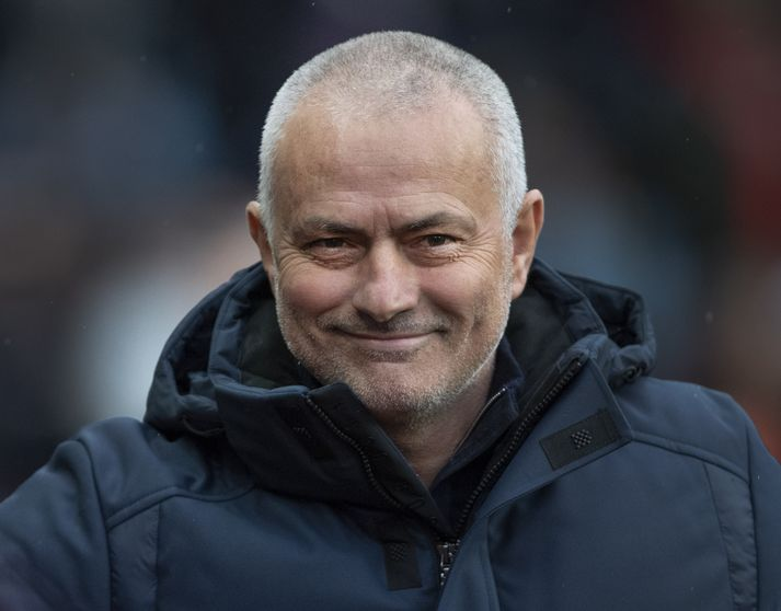 Jose Mourinho er oft ansi alvarlegur en það var létt yfir honum í dag.