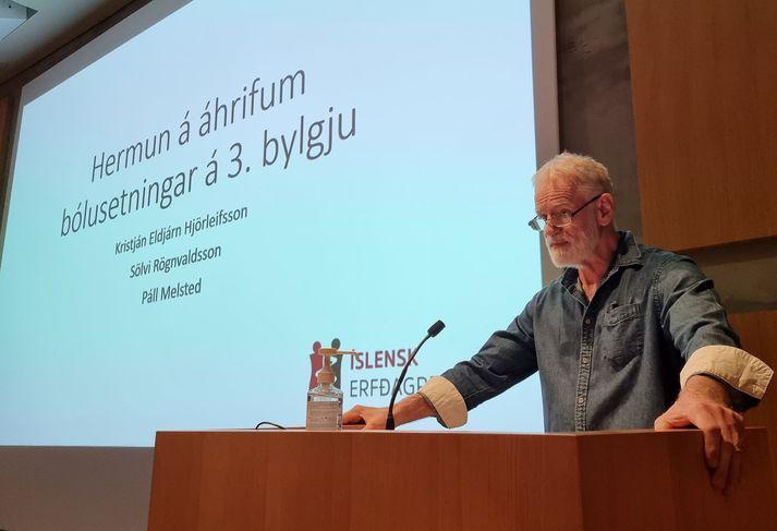 Kári Stefánsson forstjóri ÍE kynnir niðurstöður rannsóknarinnar í dag.