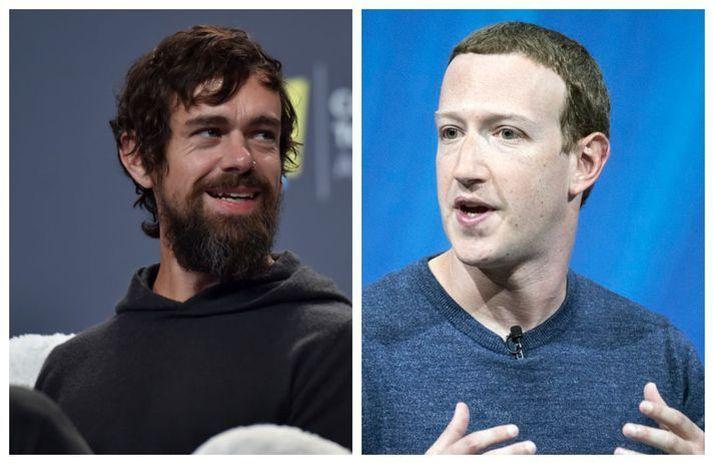 Jack Dorsey, forstjóri Twitter, (t.v.) og Mark Zuckerberg, forstjóri Facebook, (t.h) eru ekki á einu máli um hvort að þeir beri einhverja ábyrgð á því að ósannindum og áróðri sé dreift á miðlum þeirra.