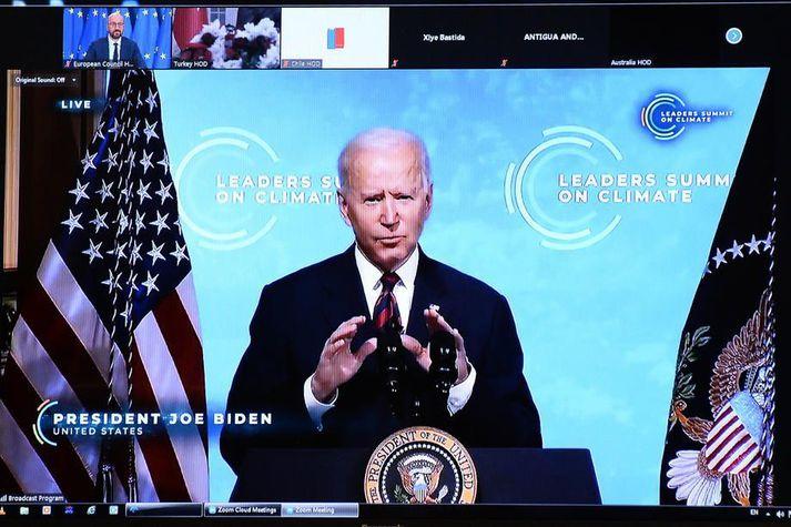 Joe Biden kynnir áætlun Bandaríkjanna á ráðstefnunni í dag.