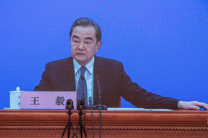 Wang Yi, utanríkisráðherra Kína, var ómyrkur í máli á blaðamannafundi í dag.