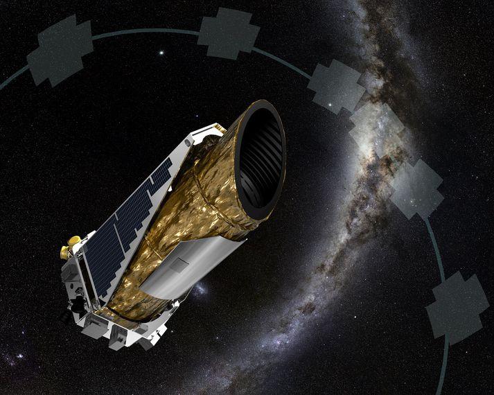 Teikning af Kepler-geimsjónaukanum sem nú er að syngja sitt síðasta.