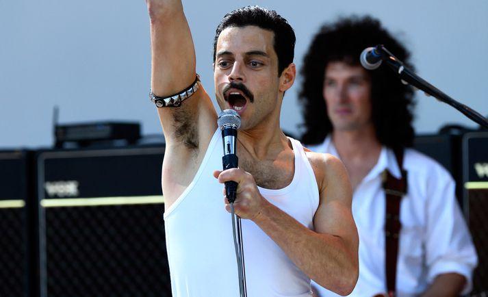 Rami Malek í hlutverki Freddie Mercury.