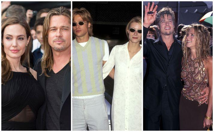 Brad Pitt sést hér ásamt leikkonunum Angelinu Jolie, Gwyneth Paltrow og Jennifer Aniston.