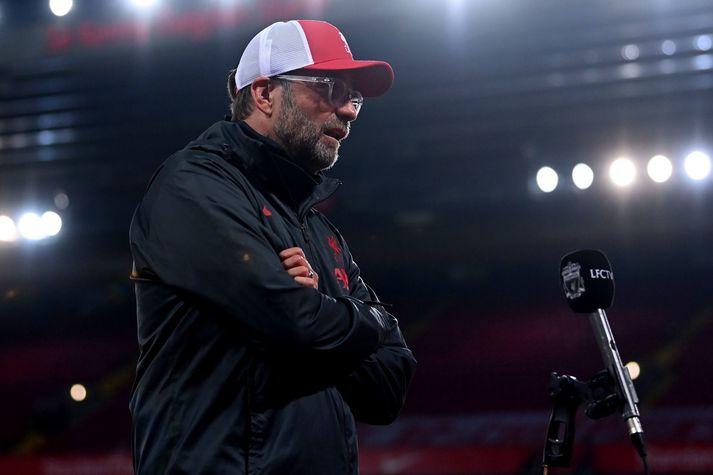 Jürgen Klopp, knattspyrnustjóri Liverpool, var ekkert alltof brosmildur í viðtalinu á Sky Sports eftir leikinn.