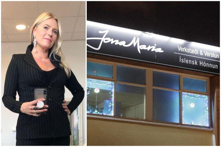 Jóna María hefur verið liðtæk á samfélagsmiðlum verslunar sinnar og klæddist gjarnan eigin hönnun og vörum - og birti á Facebook, líkt og sjá má hér til vinstri.