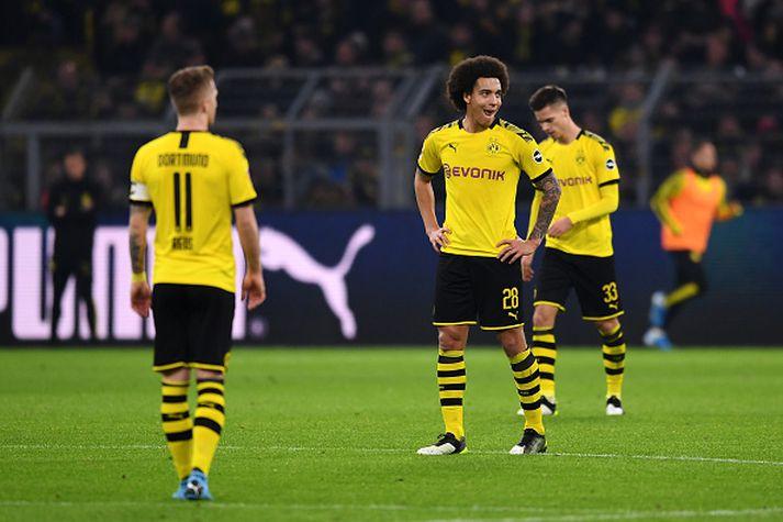 Niðurlútir Dortmund menn í kvöld.