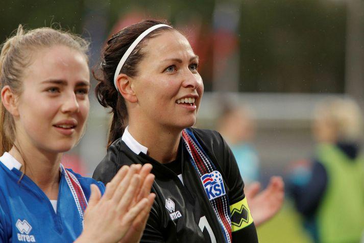 Guðbjörg Gunnarsdóttir hefur spilað 64 A-landsleiki en hún var aðalmarkvörður Íslands á EM 2013 og 2017.