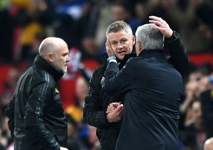 Það fór vel á Mourinho og Solskjær í desember.