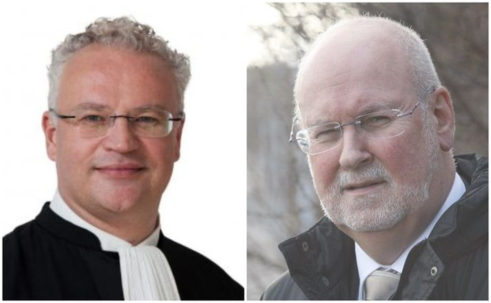 Páll Hreinsson, forseti EFTA-dómstólsins, (vinstri) og forveri hans í starfi Carl Baudenbacher (hægri). Baudenbacher gegndi stöðunni frá árinu 1995 til ársins 2018.
