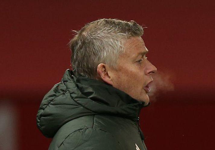 Ole á hliðarlínunni í sigrinum á Brighton í gær en hann er með United í öðru sæti deildarinnar.