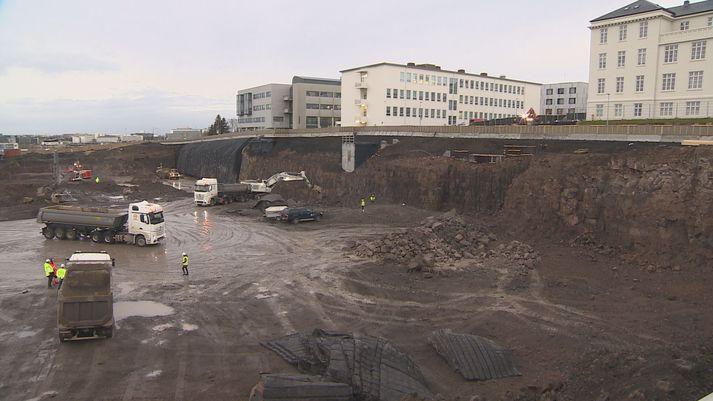 Framkvæmdir eru nú í fullum gangi við byggingu nýs Landspítala.