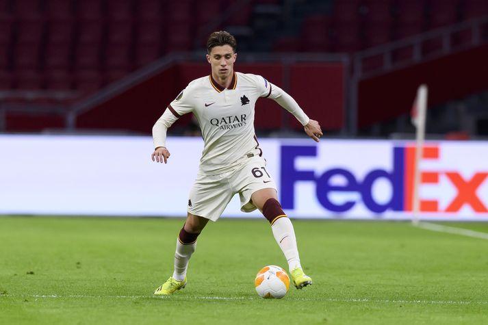 Riccardo Calafiori í leiknum gegn Ajax á Johan Cryuff leikvanginum í Amsterdam í gær.