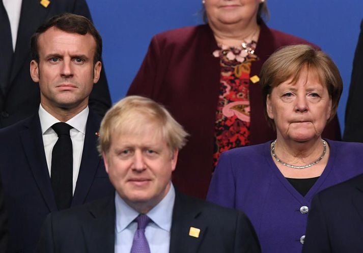 Emmanuel Macron Frakklandsforseti, Angela Merkel Þýskalandskanslari og Boris Johnson, forsætisráðherra Bretlands, eru í hópi þeirra sem standa að ákallinu. Myndin er frá NATO-fundi í desember 2019.