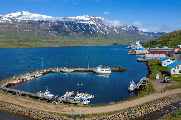 Skemmtiferðaskipið Viking Sky sigldi frá Seyðisfirði í gær.