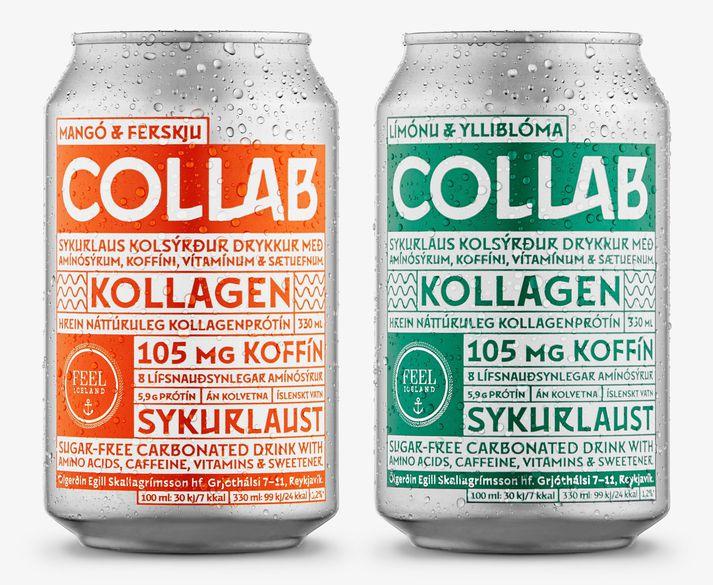 Bæði er hægt að fá COLLAB með mangó- og ferskjubragði og límónu- og ylliblómabragði.