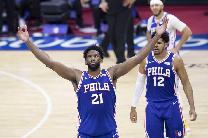 Joel Embiid var stórkostlegur í sigri Philadelphia 76ers í nótt.