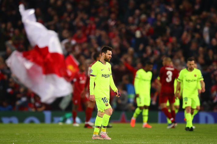 Messi í tapinu gegn Liverpool á Anfield.