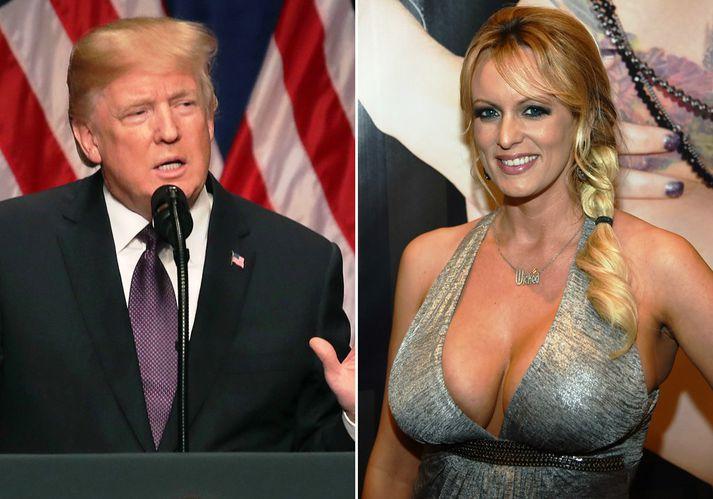Donald Trump og Stephanie Clifford, einnig þekkt sem Stormy Daniels.