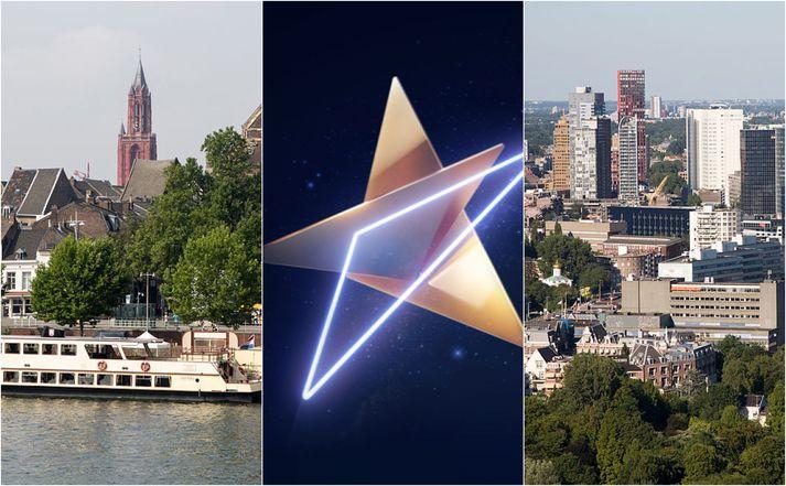 Maastricht (t.v.) og Rotterdam (t.h.) berjast um að fá að halda Eurovision keppnina að ári.