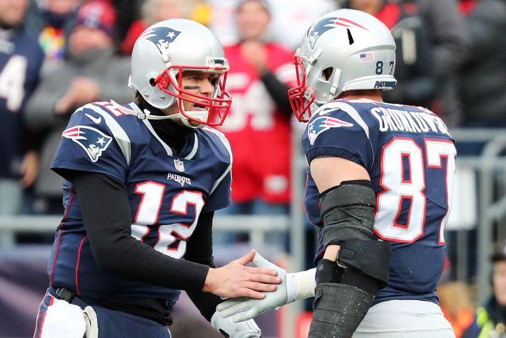 Tom Brady og Rob Gronkowski hafa verið í miklum ham fyrir Patriots.