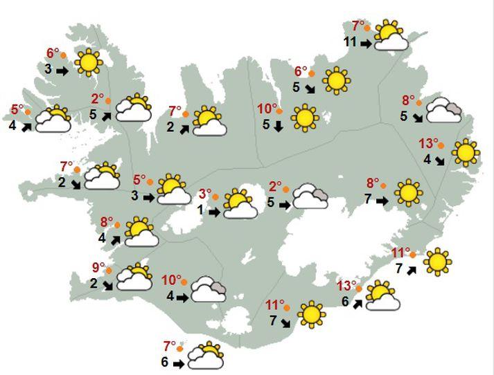 Svona verður um að litast á landinu í hádeginu í dag.