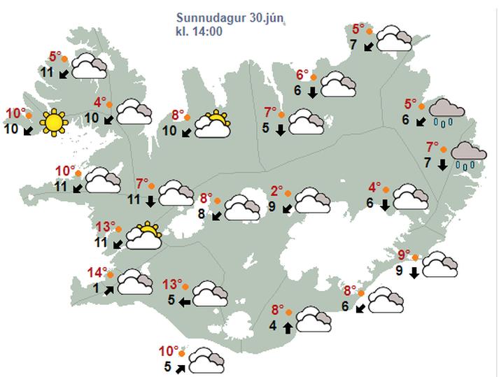 Norðanátt og hiti 5-15 stig í dag.