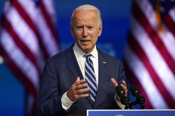 Biden, verðandi forseti, ræddi við fréttamenn í Wilmington í Delaware í dag.