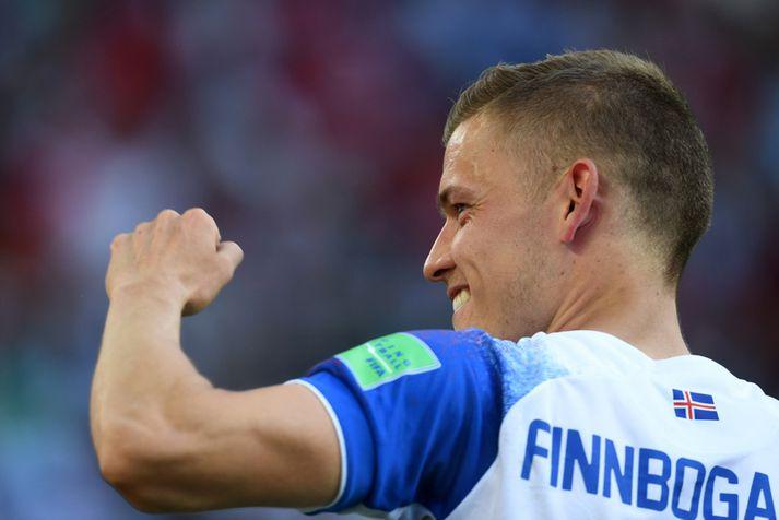 Alfreð Finnbogason fagnar hér marki sínu á HM í Rússlandi.