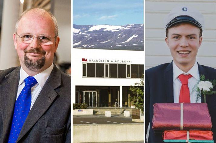 Eyjólfur Guðmundsson rektor Háskólans á Akureyri sést til vinstri á mynd. Lengst til hægri er Davíð Atli Gunnarsson, dúx útskriftarárgangs Framhaldsskólans á Húsavík í fyrra.