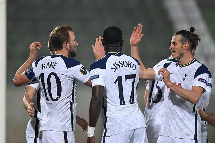 Bale, Kane og Sissoko fagna í Evrópusigri gegn Ludogorets á dögunum.