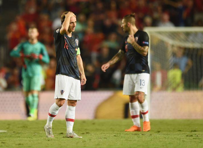 Luka Modric skildi hvorki upp né niður eftir 6-0 tap á Spáni í kvöld.