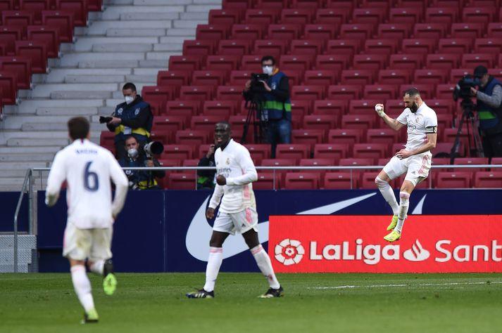 Karim Benzema tryggði Real Madrid stig gegn Atlético Madrid í dag.