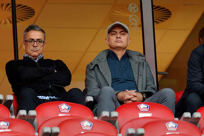 Mourinho á leik Lille og Nimes á dögunum.
