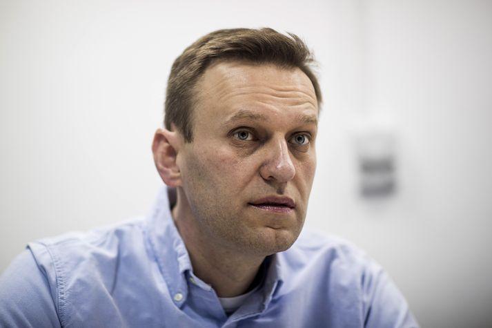Alexei Navalny var handtekinn fyrir utan heimili sitt í Moskvu í dag.