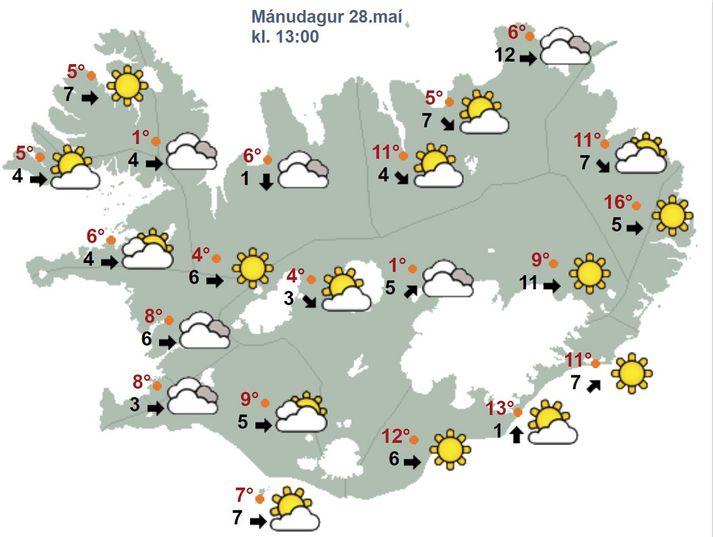 Hlýjast verður norðaustanlands á morgun.