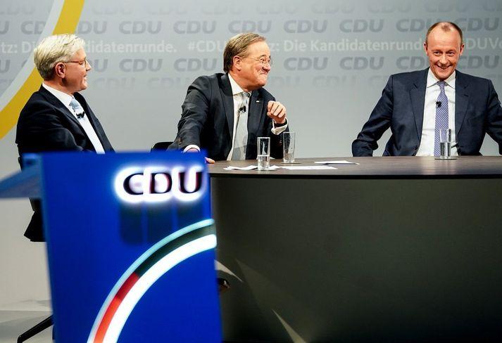 Norbert Röttgen, Armin Laschet og Friedrich Merz vilja allir leiða Kristilega demókrata (CDU) í Þýskalandi.