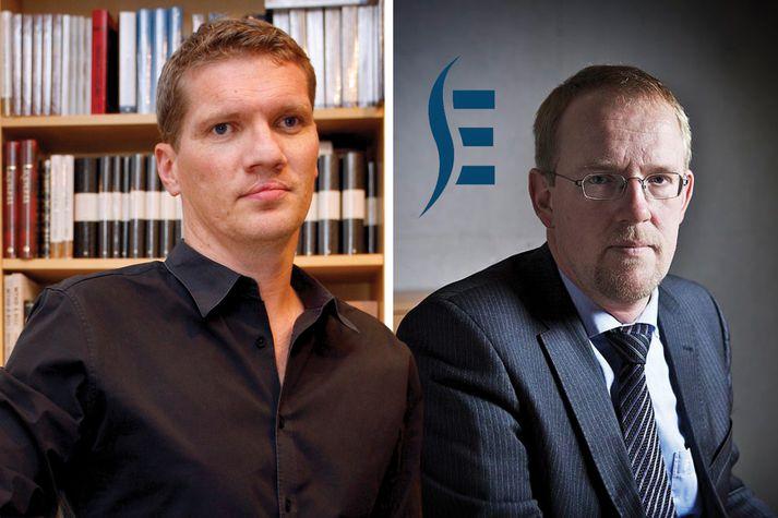 Egill Örn Jóhannsson (t.v.) er framkvæmdastjóri Forlagsins en Páll Gunnar Pálsson (t.h.) er forstjóri Samkeppniseftirlitsins.