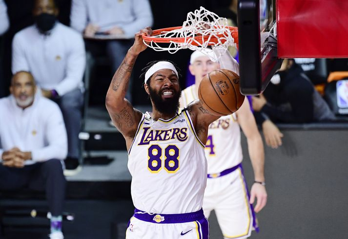 2020 NBA Finals - Game Three LAKE BUENA VISTA, FLORIDA - OCTOBER 04: Markieff Morris #88 of the Los Angeles Lakers dunks the ball during the first half against the Miami Heat in Game Three of the 2020 NBA Finals at AdventHealth Arena at ESPN Wide World Of Sports Complex on October 04, 2020 in Lake Buena Vista, Florida. NOTE TO USER: User expressly acknowledges and agrees that, by downloading and or using this photograph, User is consenting to the terms and conditions of the Getty Images License Agreement. (Photo by Douglas P. DeFelice/Getty Images)