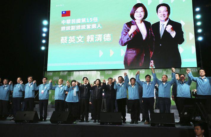 Tsai Ing-wen, sitjandi forseti Taívan, vann yfirburðasigur í forsetakosningum þar í landi í dag.